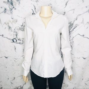 Zara Woman Button Down Long Sleeve Blouse White